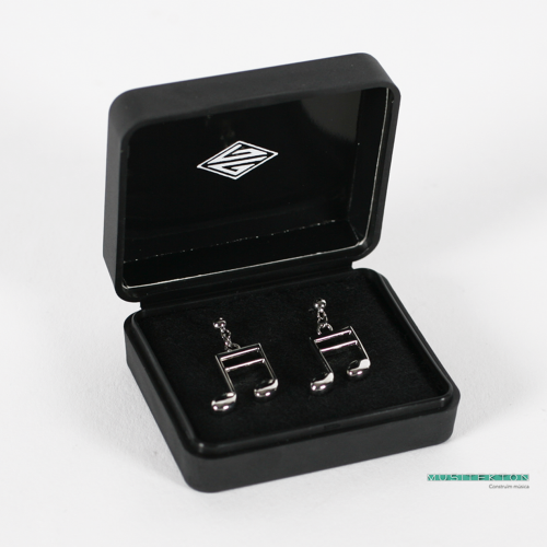Earrings silvered semiquavers