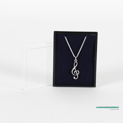 Pendant silvered 3D treble clef