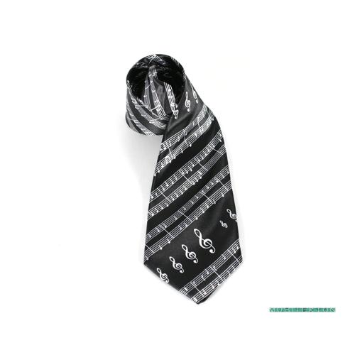 Corbata negra partitura y claves de sol