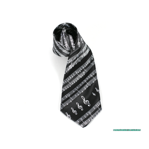 Tie black music sheet and treble clefs