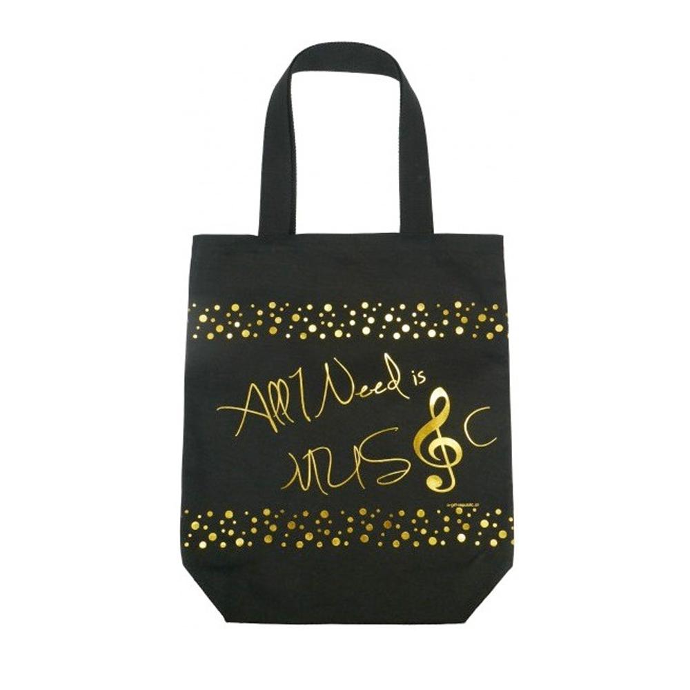 bolsa negra letras doradas