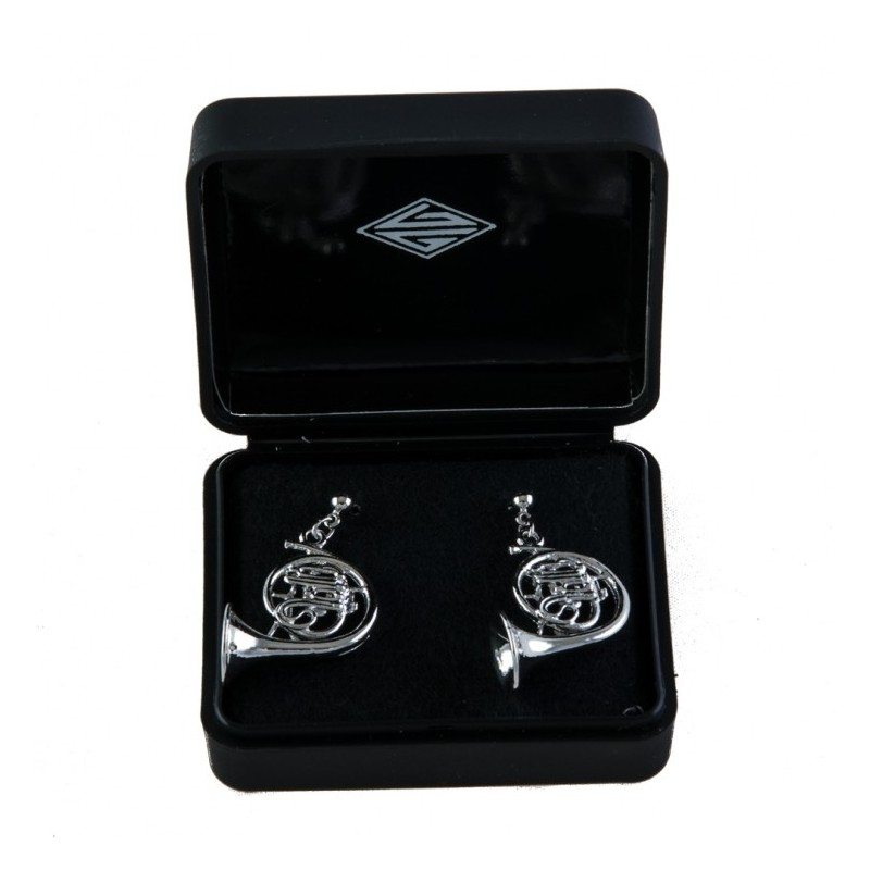 Earrings silvered 3D horn