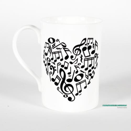 Taza corazón musical